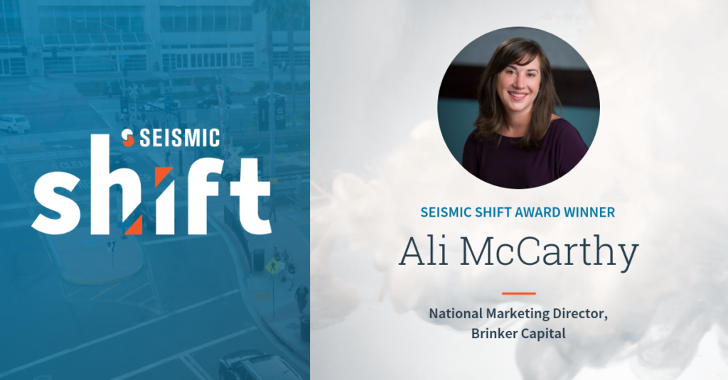 Announcing the 2018 Seismic Shift Award Winners and Winner Q&As – Ali McCarthy, Brinker Capital