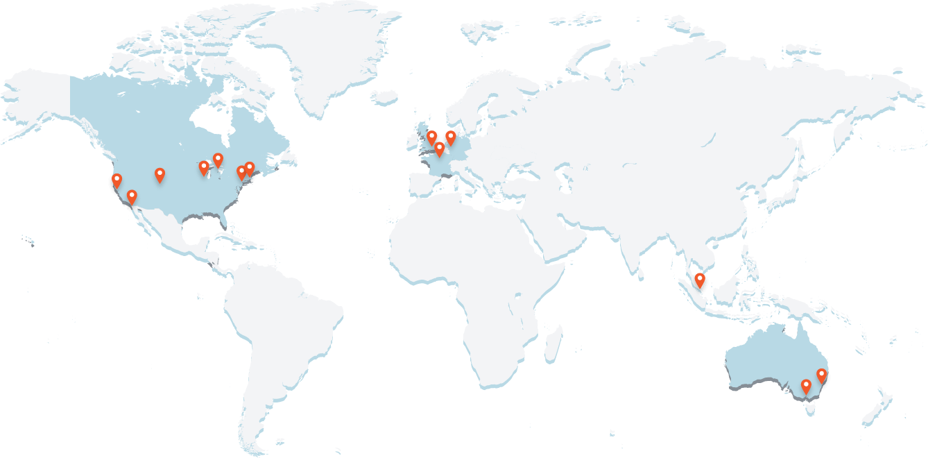A world map with pins showing the locations of Seismic offices around the globe
